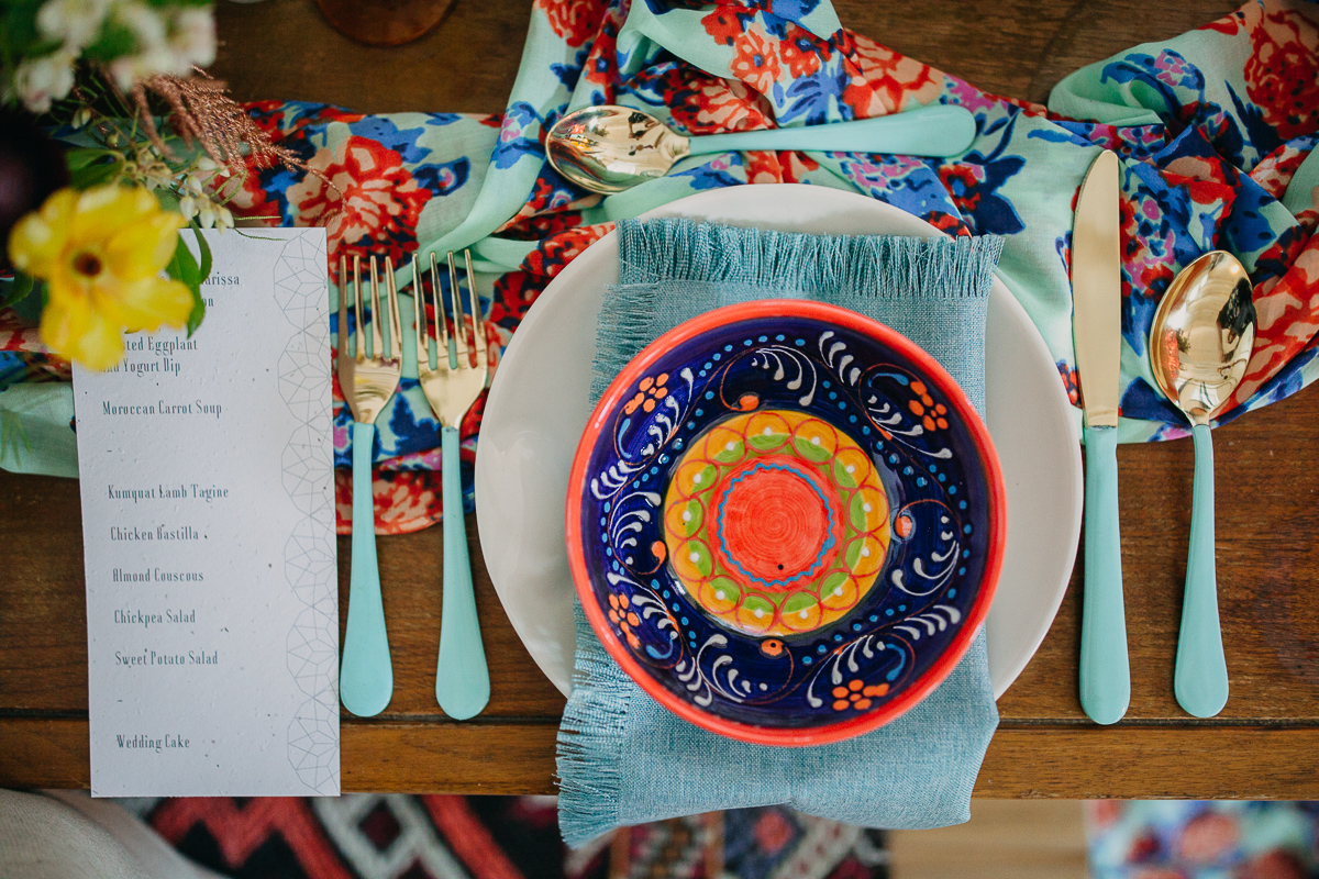 Bright colors and a fun table setting