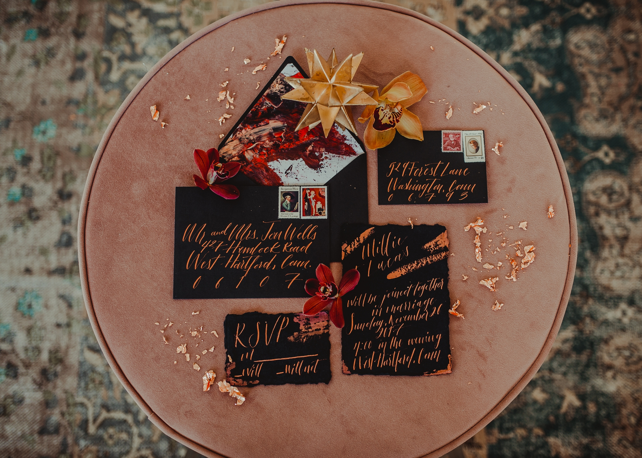 Black Invitations with copper by Cat Wilcox - Pearl Weddings & Events