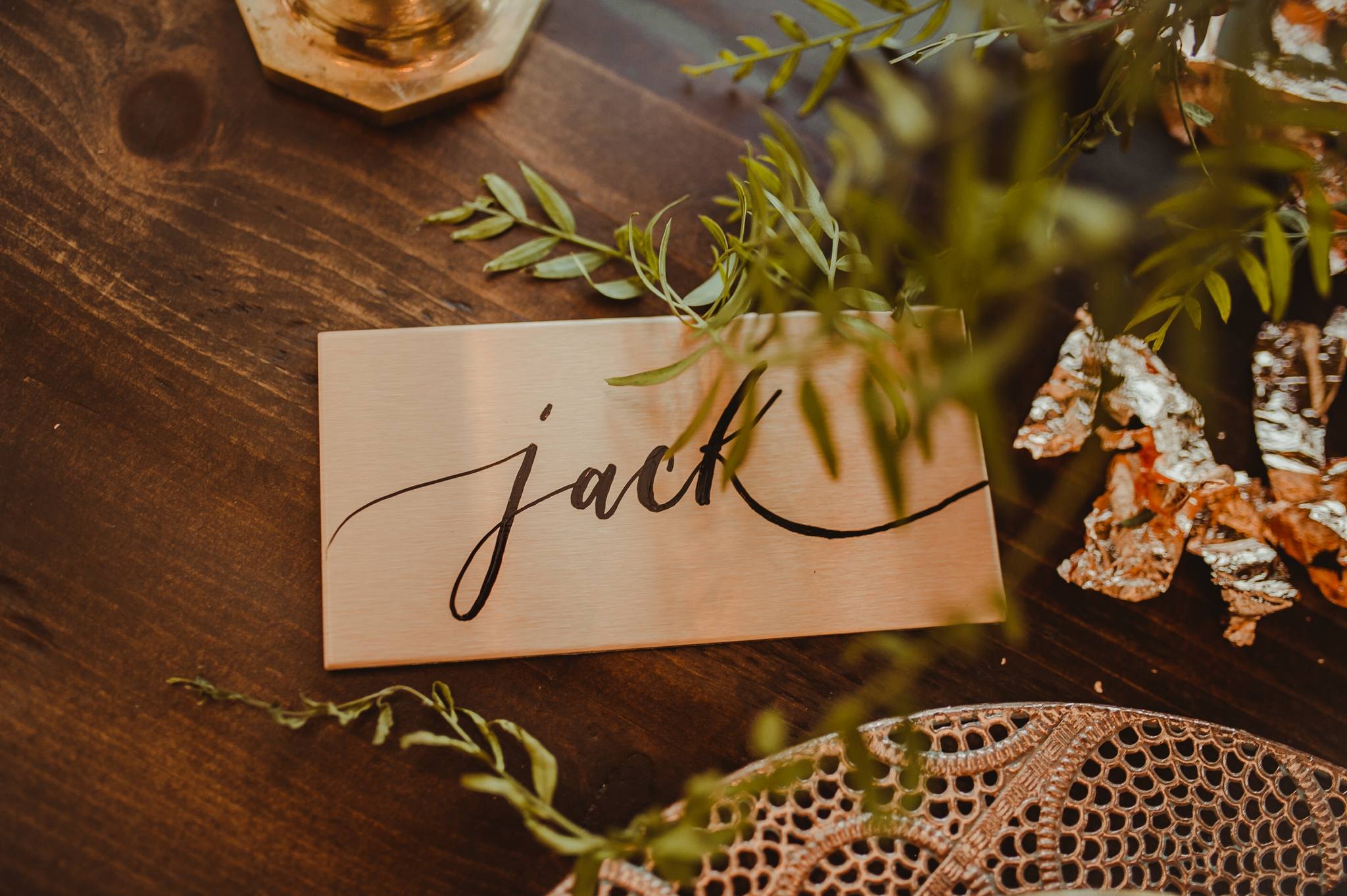 Copper plated name cards/escort cards by Cat Wilcox - Pearl Weddings & Events