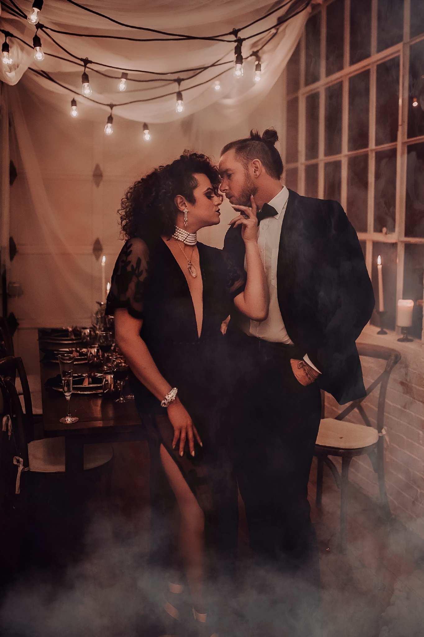 Black wedding dress and cafe lighting for the reception! - Pearl Weddings & Events