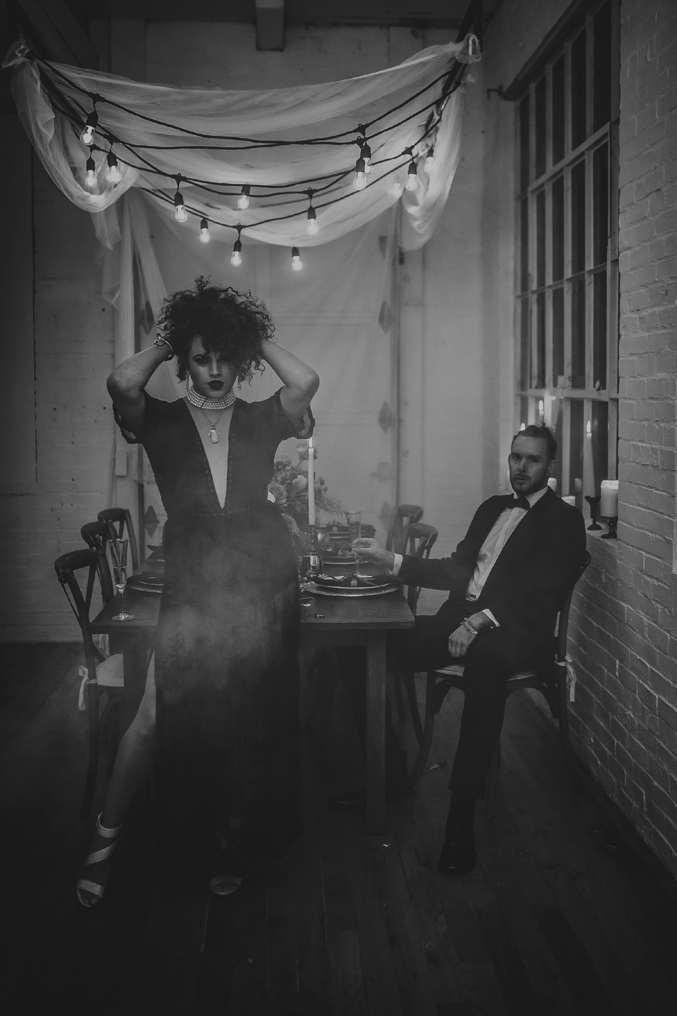 Black wedding reception dress - Pearl Weddings & Events
