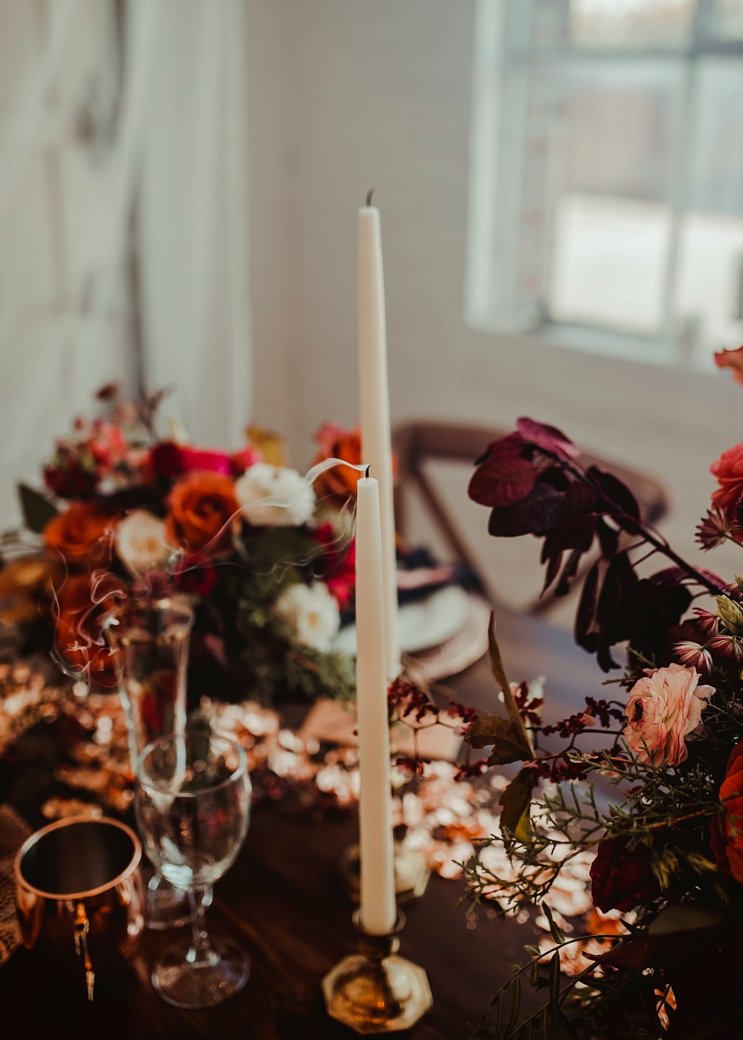 Table details with copper and deep colors - Pearl Weddings & Events