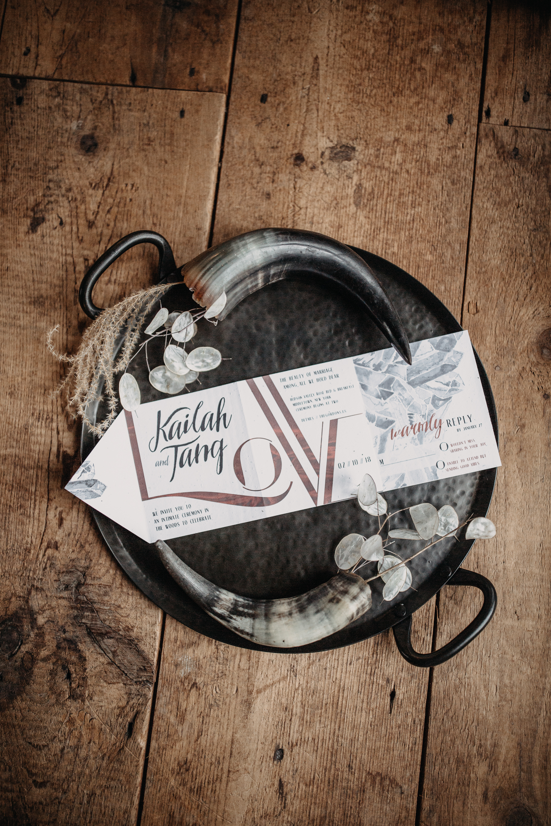 B & B fashionable Elopement in January with plantable stationary - Pearl Weddings & Events