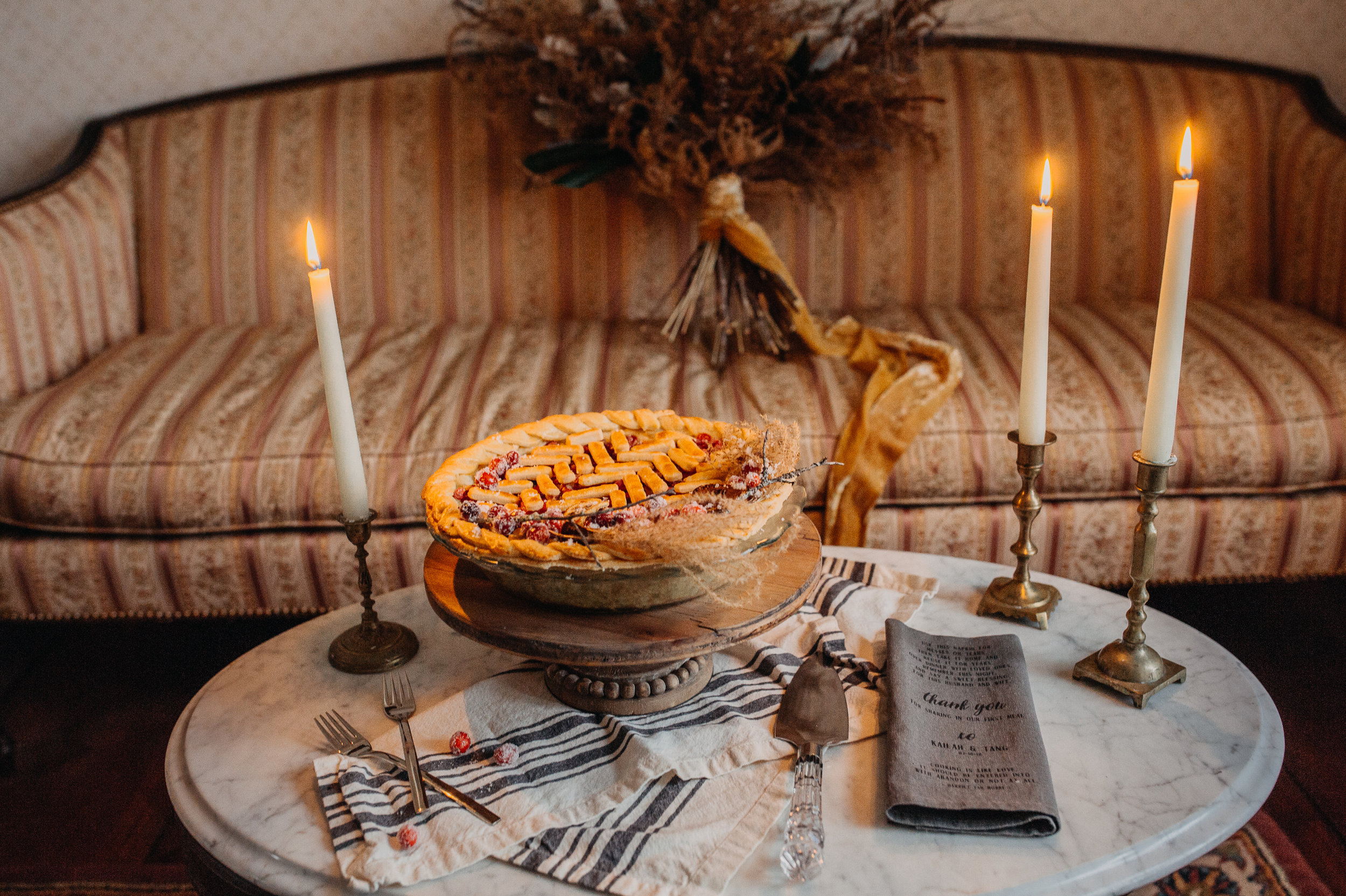Cranberry homemade pie for the B & B fashionable Elopement in January - Pearl Weddings & Events