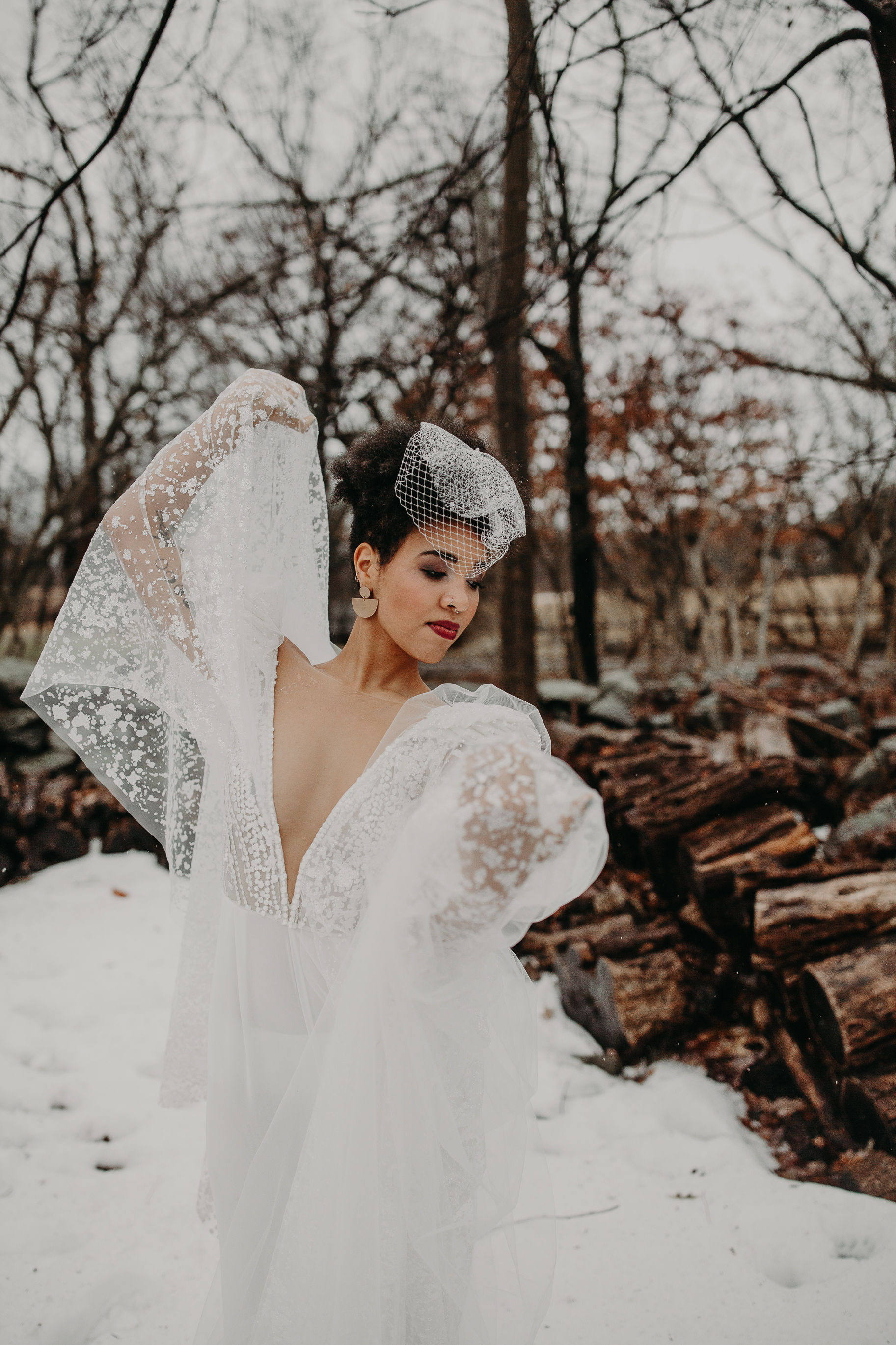 Dancing at the B&B winter fashionable elopement in Hudson, New York - Pearl Weddings & Events