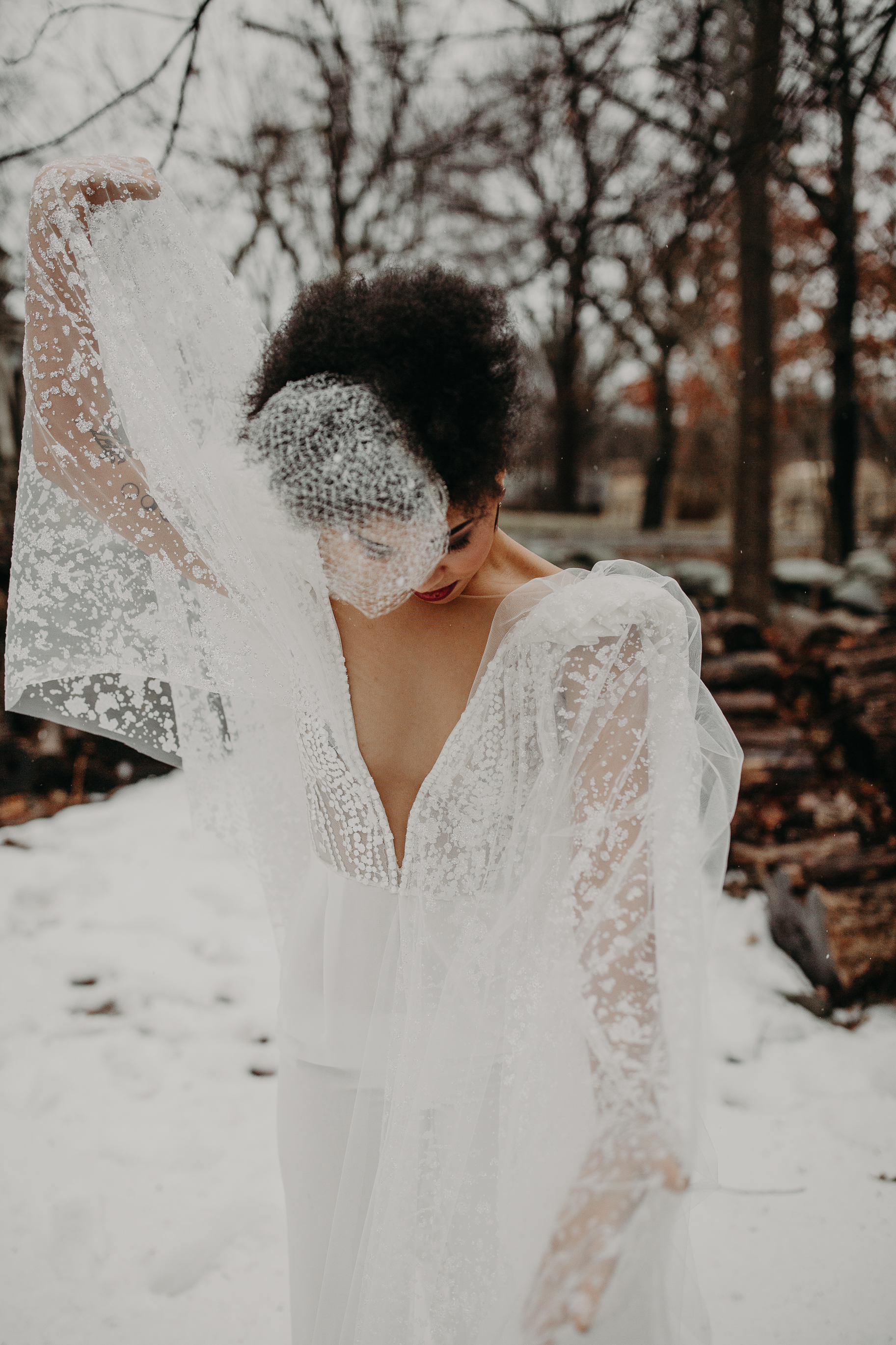 Dancing at her B&B winter fashionable elopement in Hudson, New York - Pearl Weddings & Events