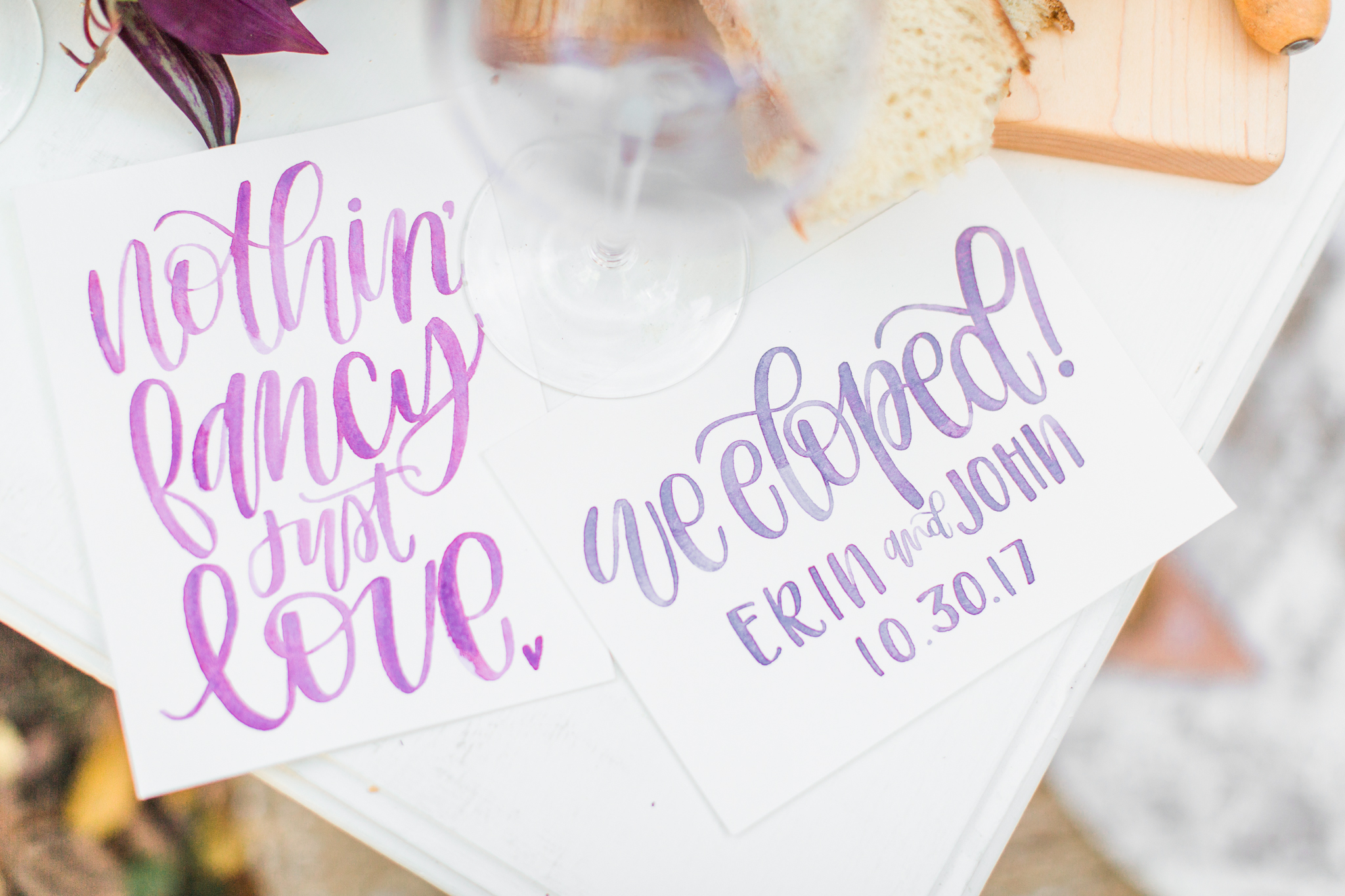 Wedding elopement announcements in pink and purple! Pearl Weddings & Events