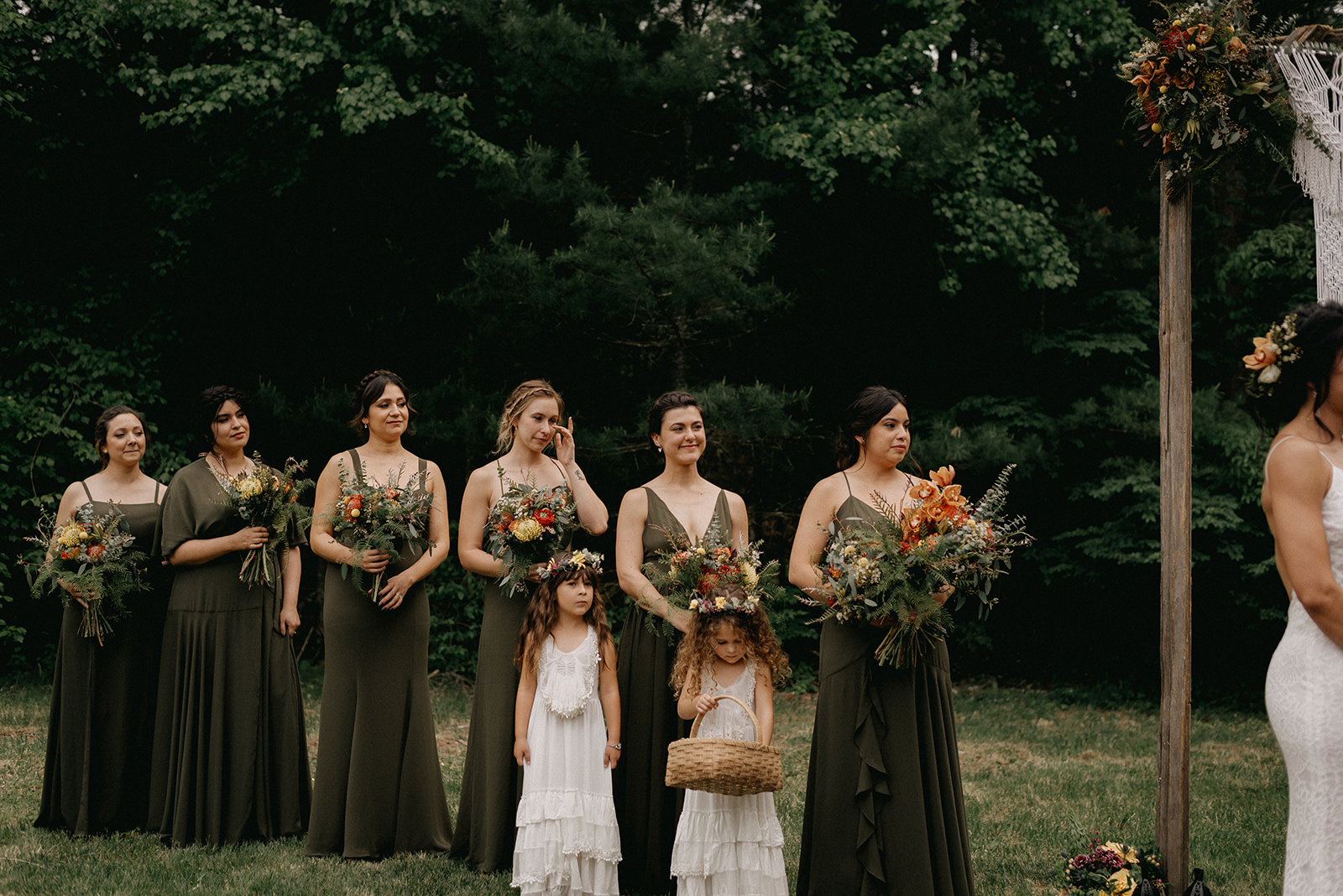 Bridesmaids in forest green dresses - Pearl Weddings & Events