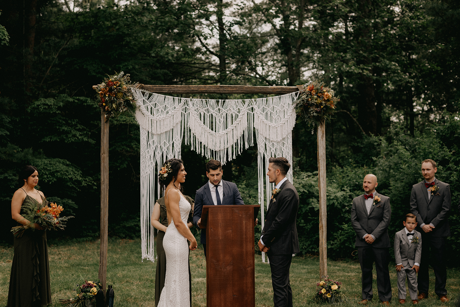 Bride and groom at the ceremony altar - Pearl weddings & Events