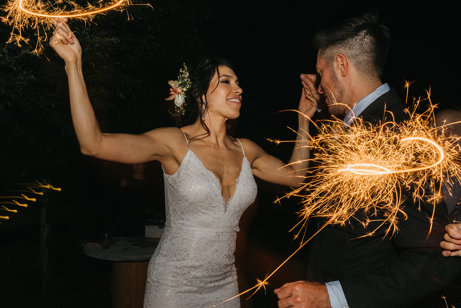 Late night sparkler dance party with the bride and groom - Pearl weddings & events