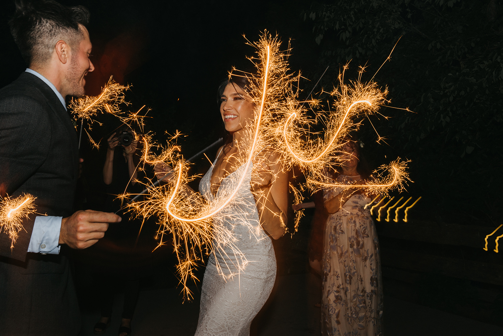 Sparkler dance party with the bride and groom - Pearl Weddings & Events