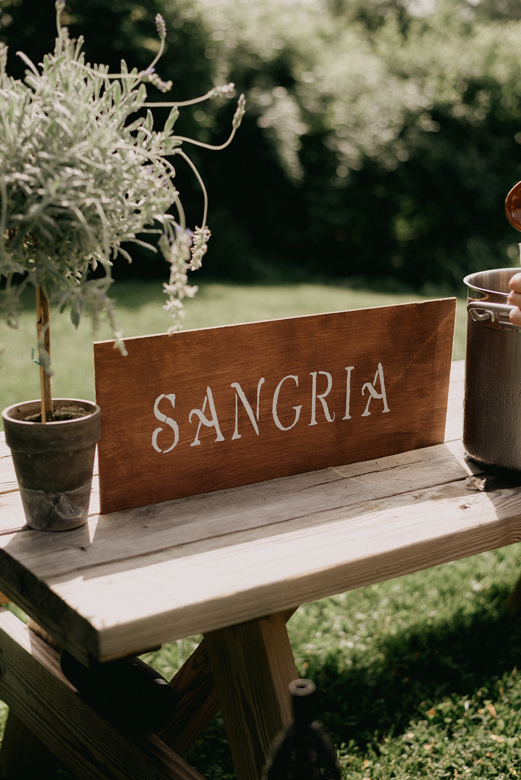 Beverage welcome bar for wedding guests. Sangria was the drink of choice! - Pearl Weddings & Events