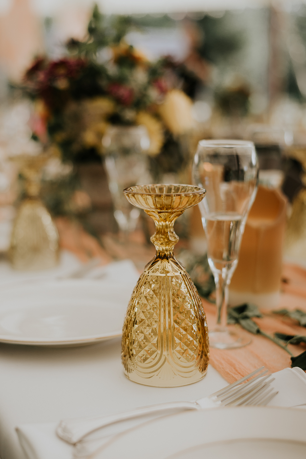 Boho vibe with yellow glassware for a wedding reception - Pearl Weddings & Events