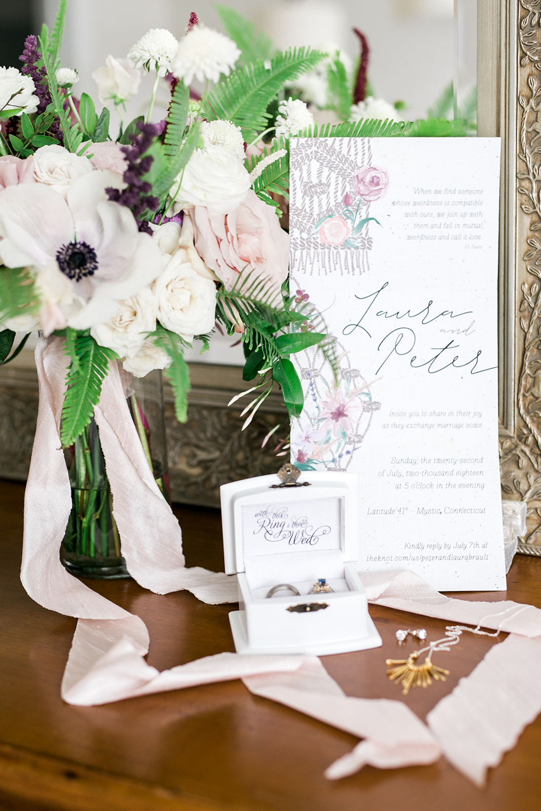 Whole wedding invitations and Pine and Petal florals - Pearl Weddings & Events