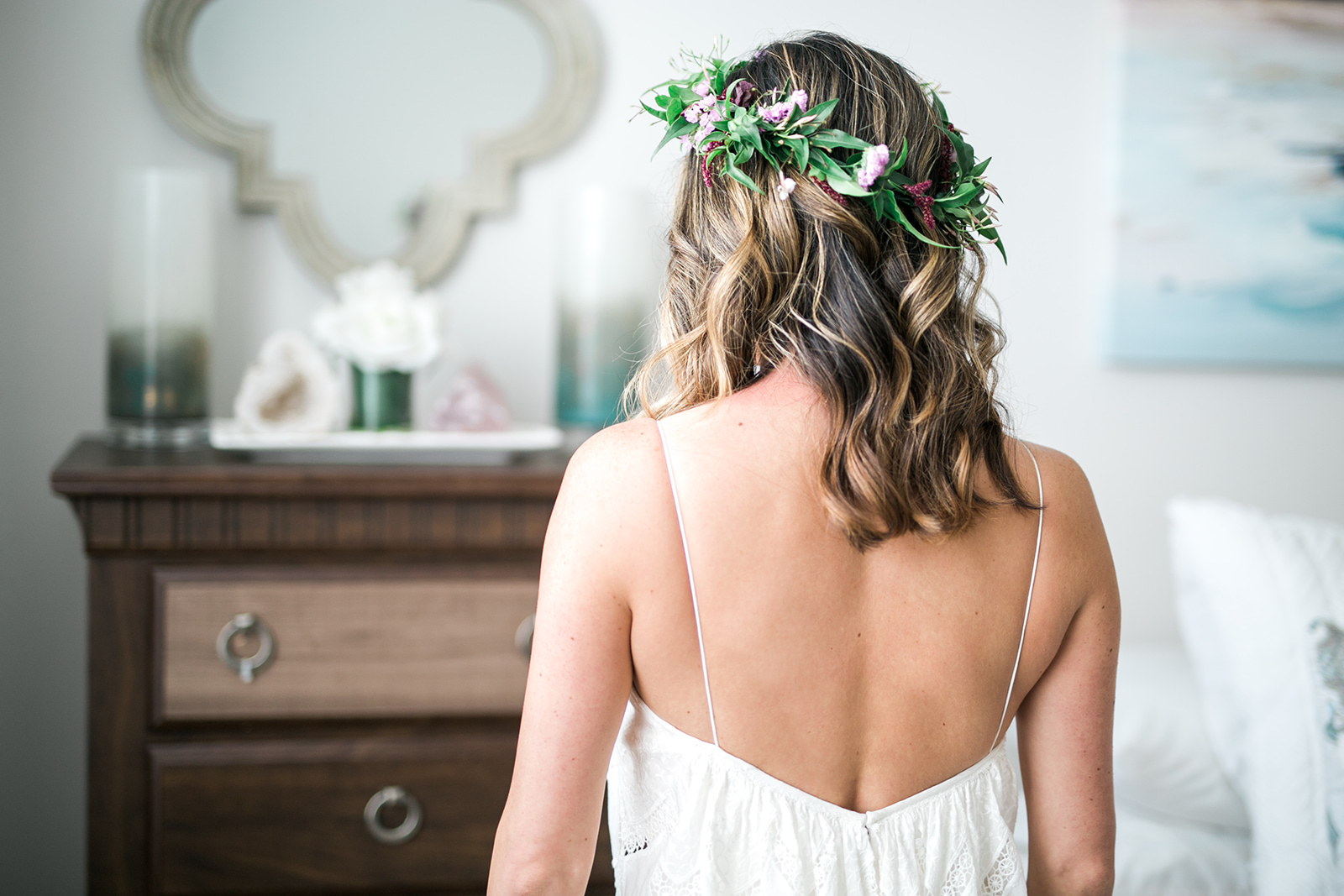 Bridal hair down with flower crown - Pearl Weddings & Events