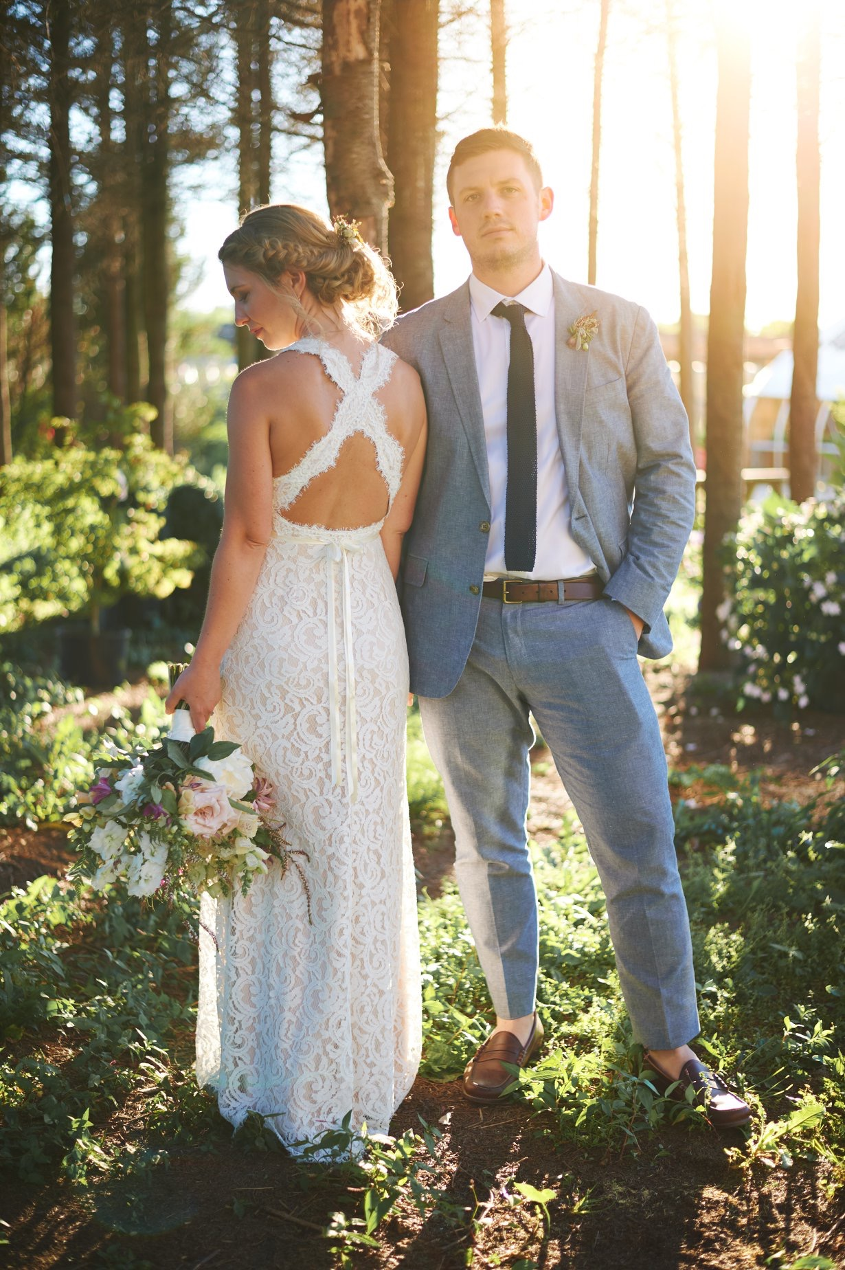 Bride and groom portrait photos during golden hour at The Farmers Daughter in Rhode Island - Pearl Weddings & Events