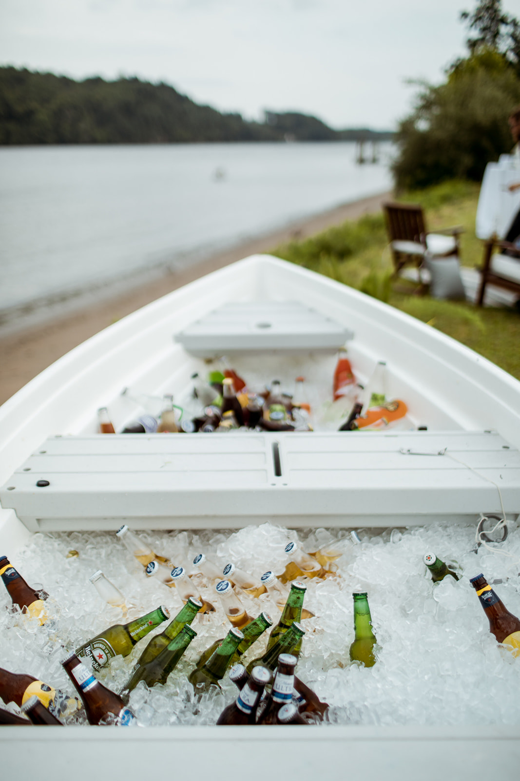 Boat with ice and beer at a wedding cocktail hour in Chester, Connecticut - Pearl Weddings & Events