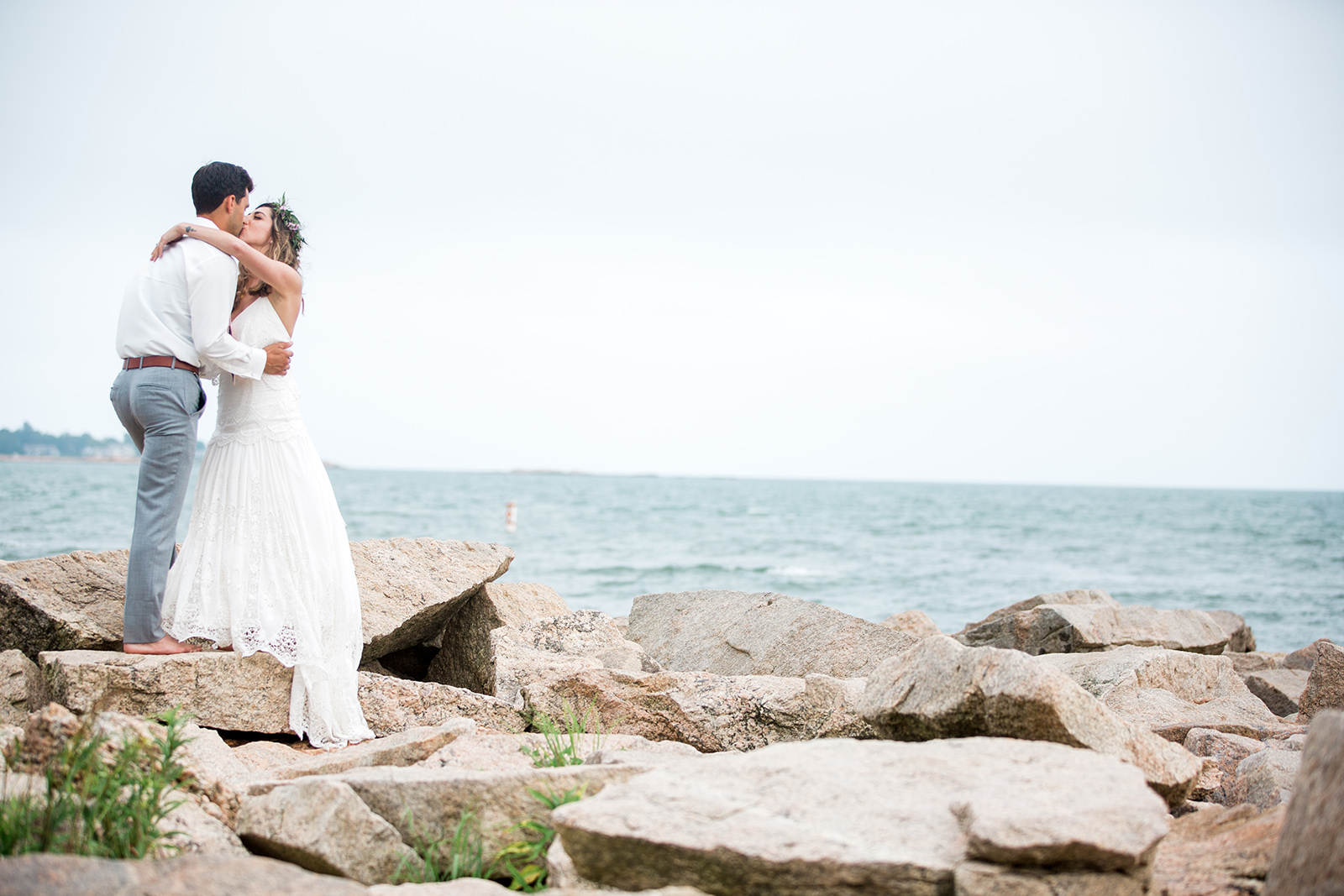 Pete and Laura's Mystic, CT wedding. First look at Rocky Neck State Park. - Pearl Weddings & Events