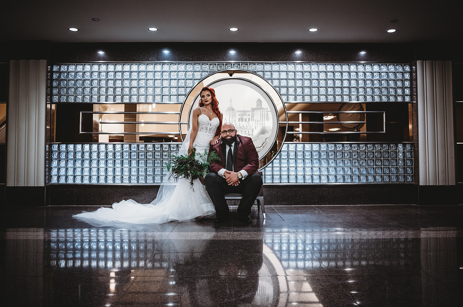 Bride with red hair in her Calla Blanche dress and groom in maroon and black suit from JTGhamo  - Hartford Connecticut wedding - Pearl Weddings & Events