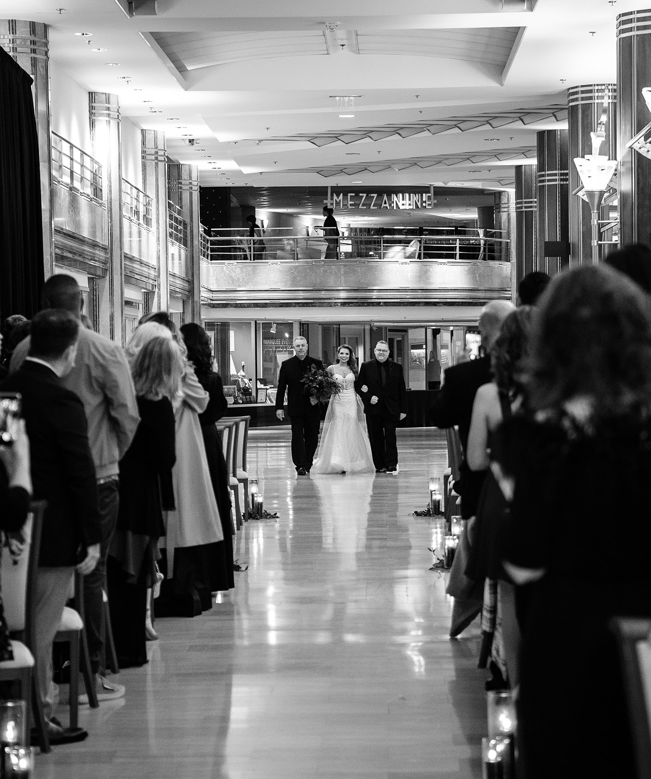 The bride enter with both her dads on each arm - Pearl Weddings & Events