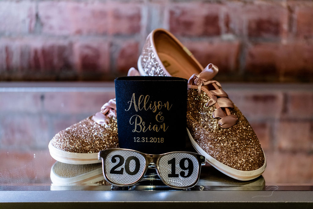 gold sparkly brides flats, sunglasses and koozies - Pearl Weddings & Events