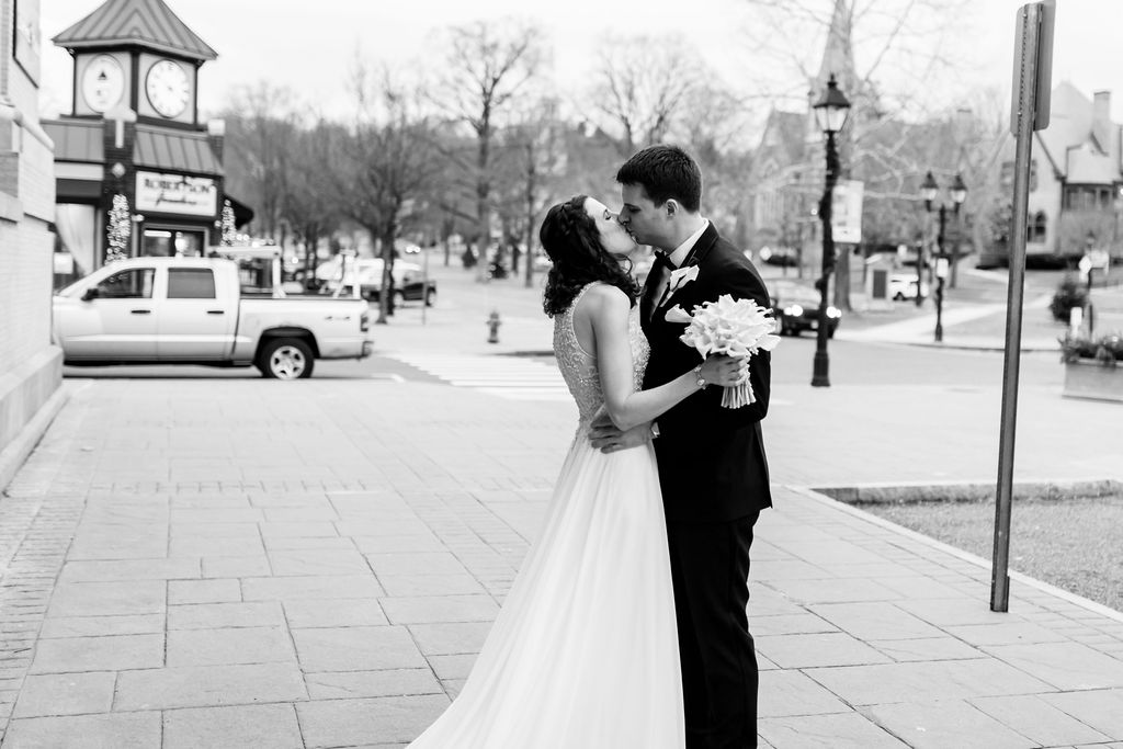 First look outside of the 19Main in New Milford, CT - Pearl Weddings & Events