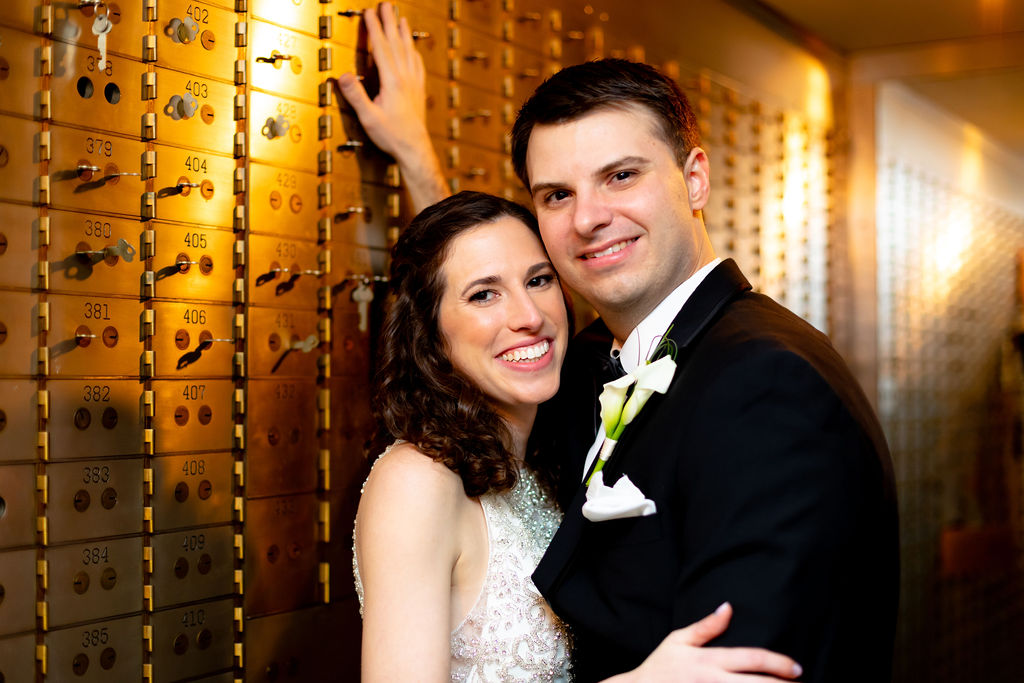 Bride and groom in the vault at their unique historic wedding venue in connecticut - Pearl Weddings & Evens