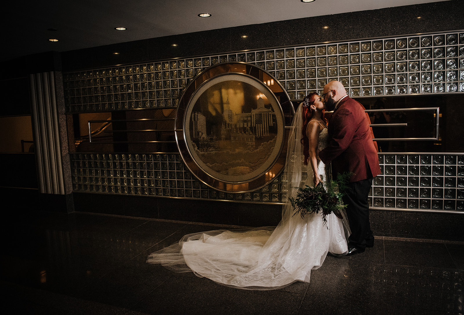Bride and groom photos against an awesome back drop in hartford connecticut - Pearl Weddings & Events