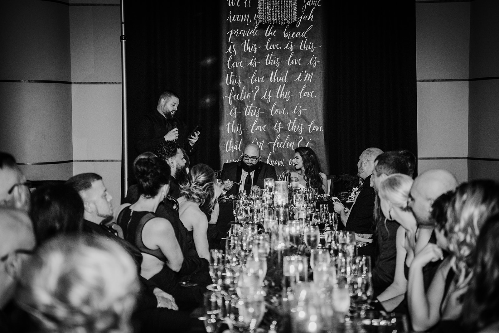 bride and groom sweetheart table at the head of the head table - Pearl weddings & Events