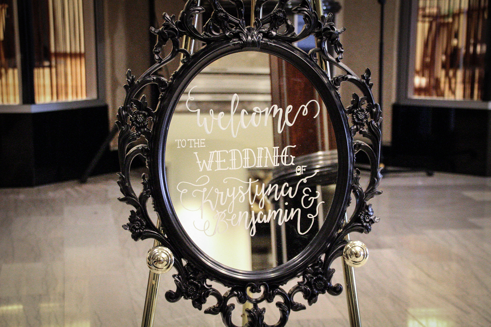Black frame, mirror welcome sign with calligraphy - Pearl Weddings & Events