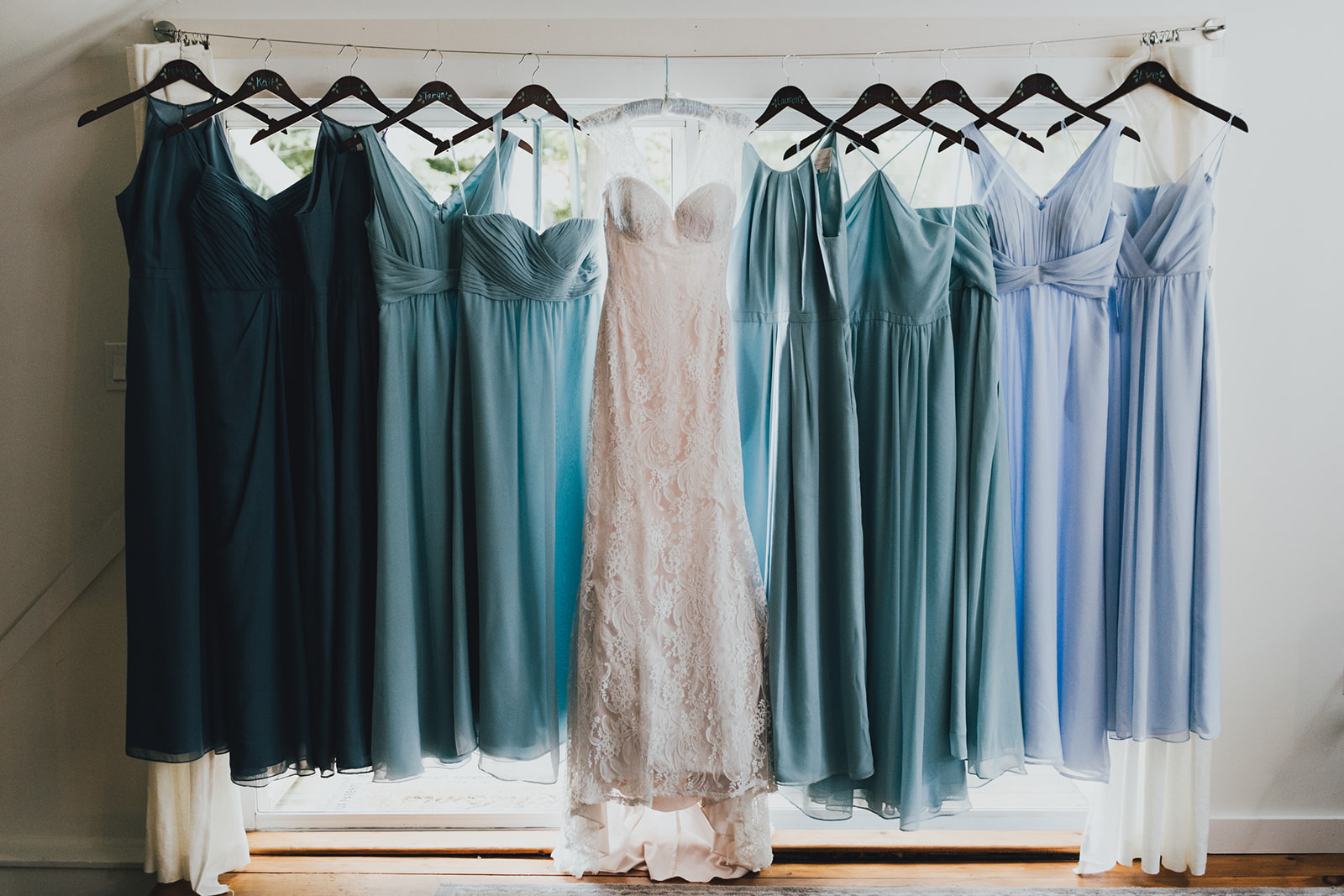 different shades of blue bridesmaid dresses - Pearl Weddings & Events