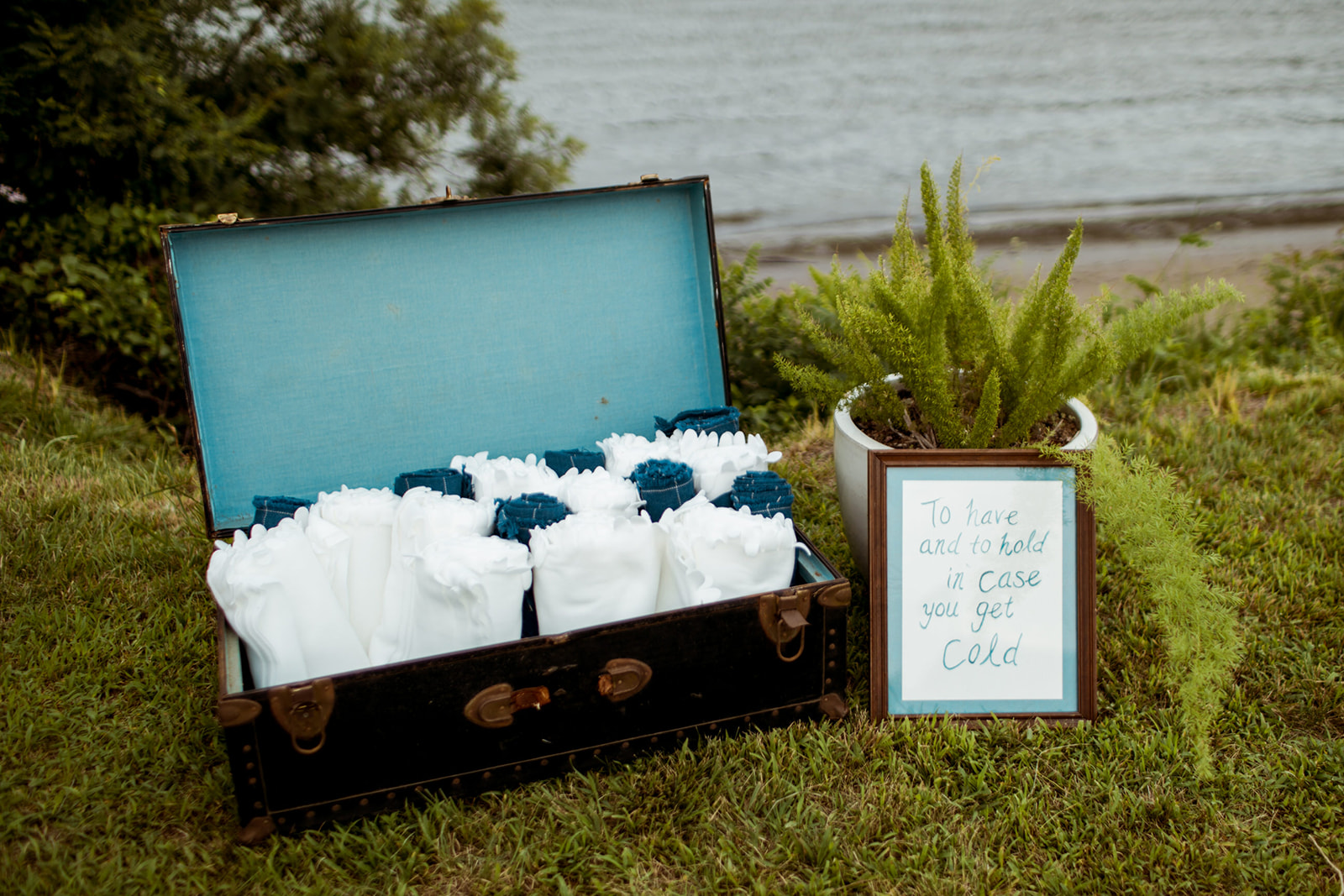 to have and to hold in case you get cold! Fleece blankets as Wedding favors for outdoor weddings - Pearl Weddings & Events