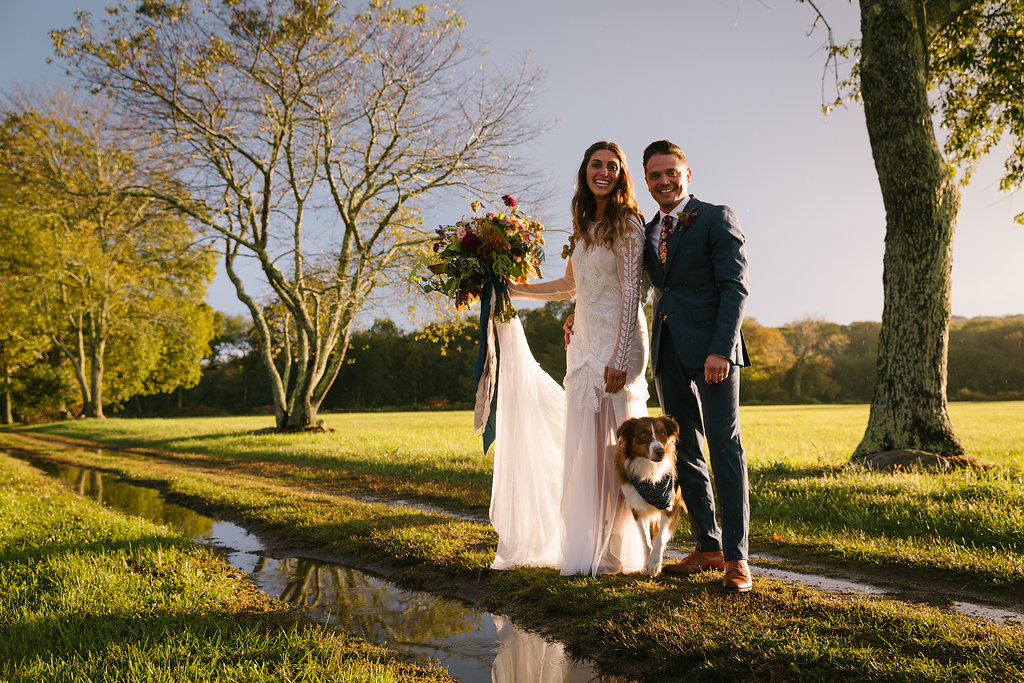 bride, groom and their fur baby! - Pearl Weddings & Events