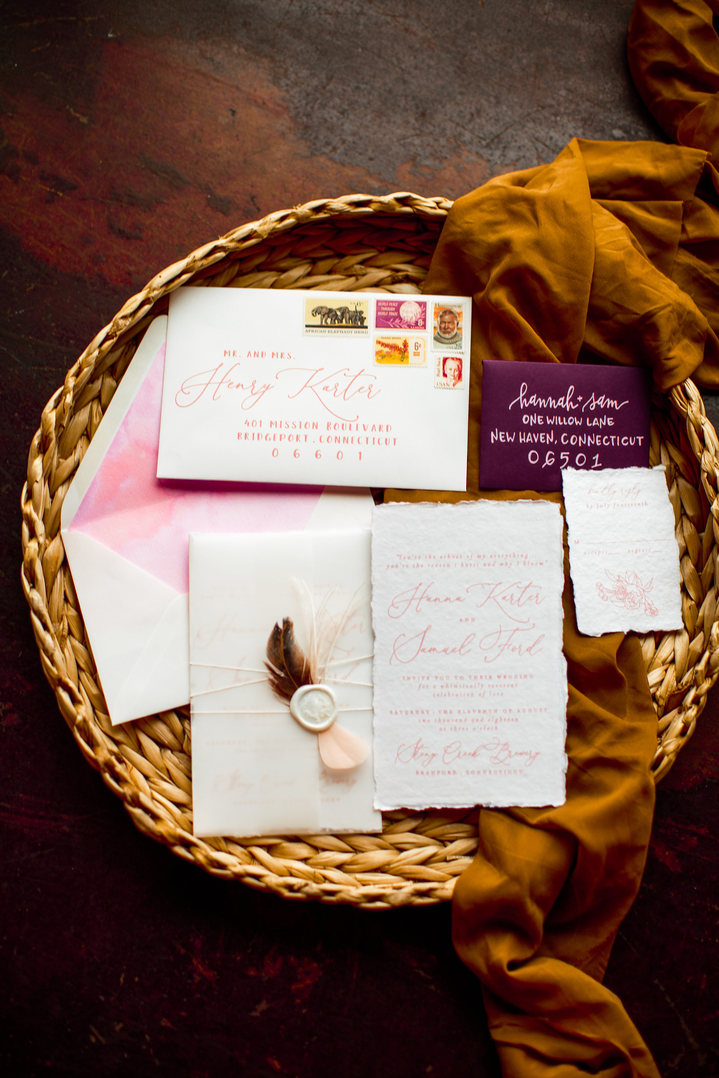 deep purple and pink water colors! Boho blends with turmeric - Pearl Weddings & Events