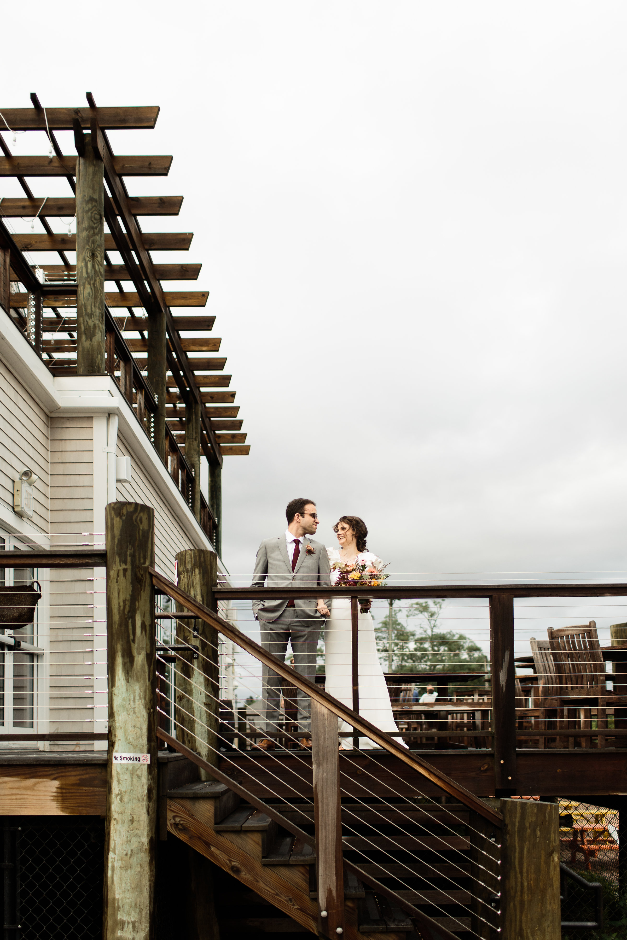 Bride and groom at Stony Creek Brewery - Pearl Weddings & Events
