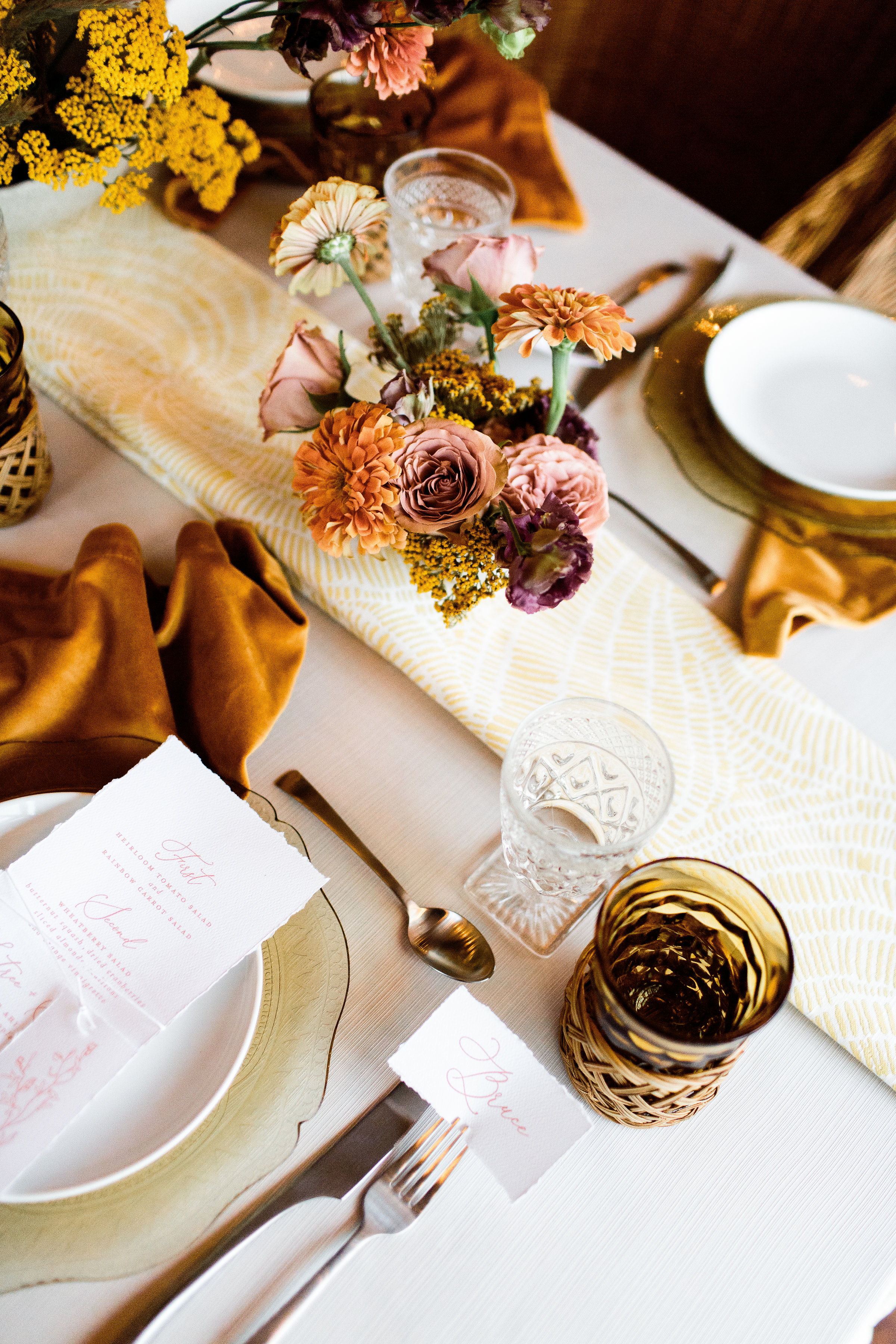 Spring and fall table scapes that are boho and modern style - Pearl Weddings & Events