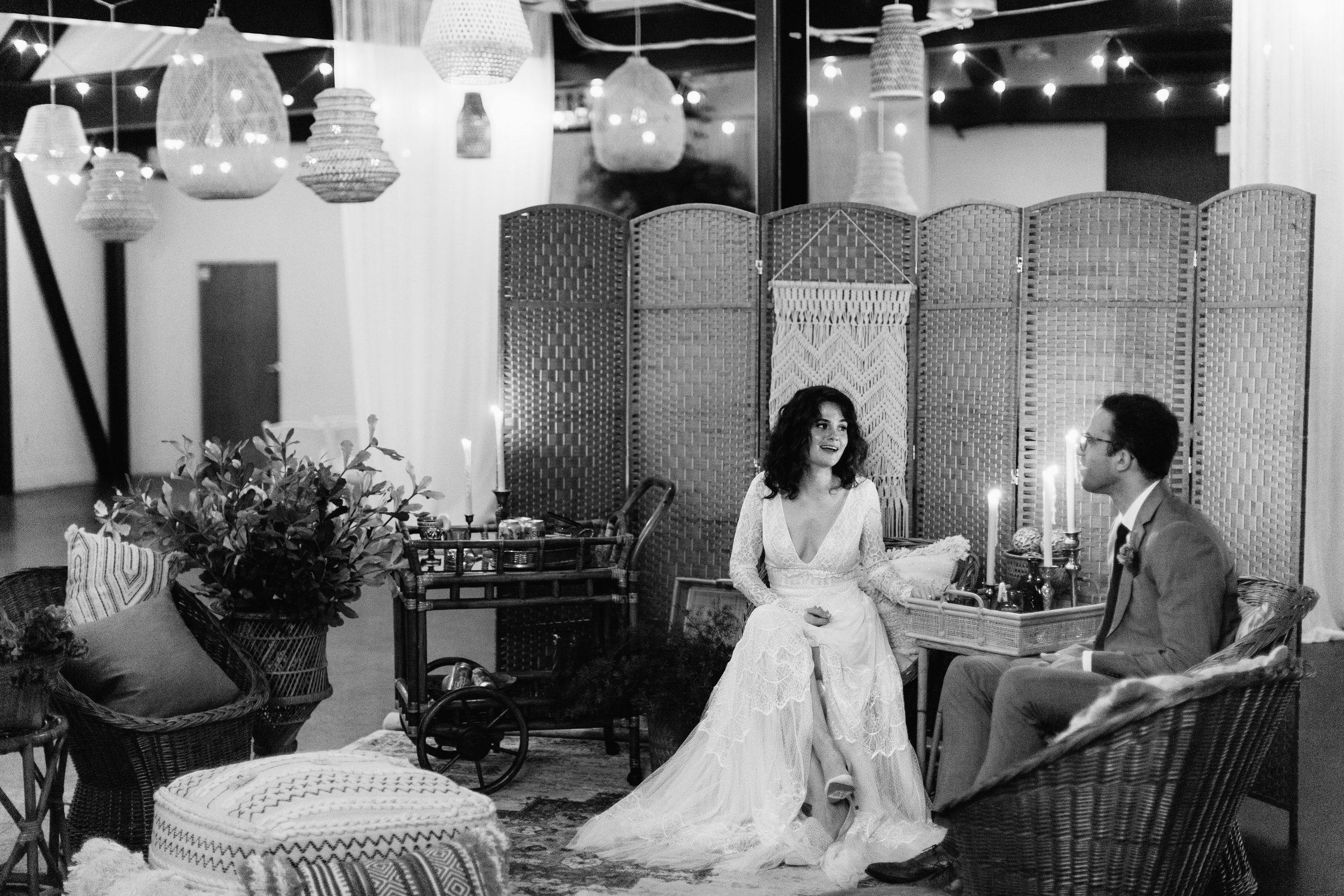 Boho lanterns and a boho lounge set up for a brewery wedding - Pearl Weddings & Events
