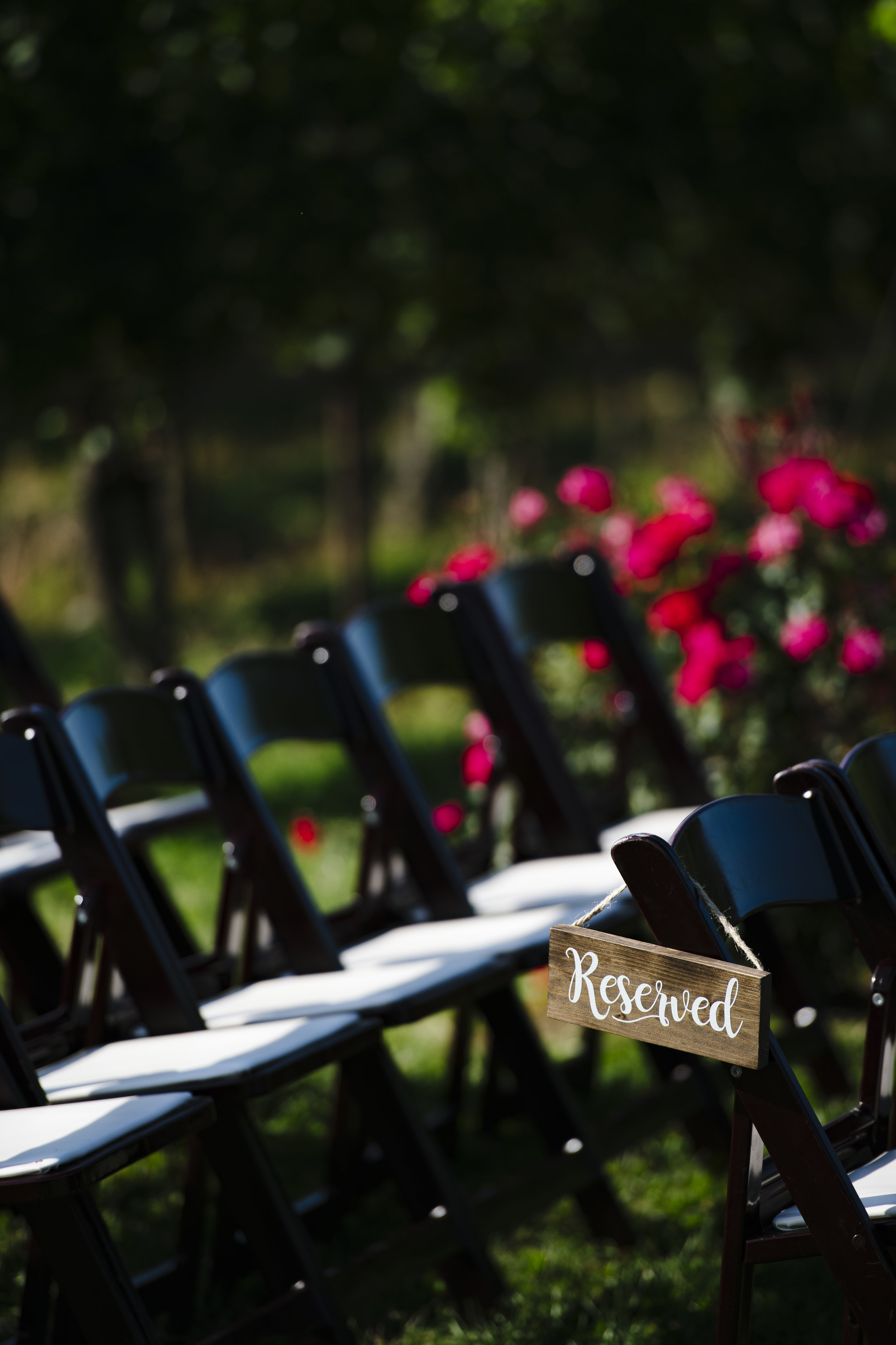 Wood garden folding chairs and red roses for a ceremony at Jonathan Edwards winery - Pearl Weddings & Events