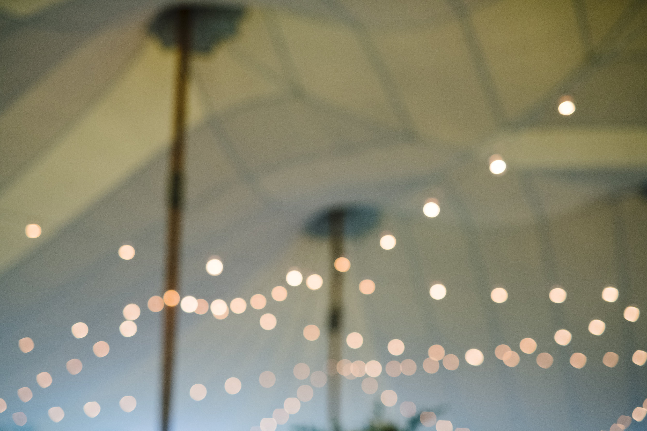 Cafe lighting underneath a tent for a wedding at Jonathan Edwards Winery - Pearl Weddings & Events