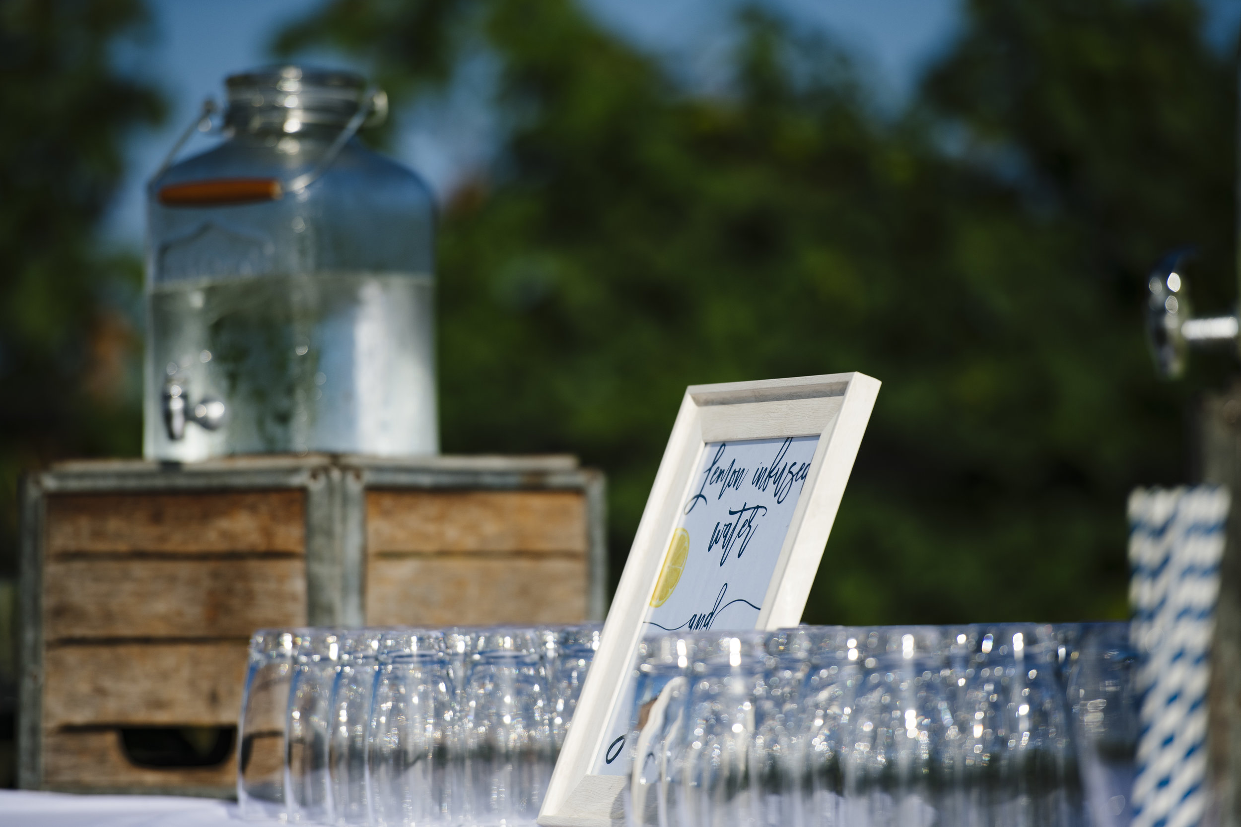 Welcome beverage station by A Thyme To Cook Catering at Jonathan Edwards Winery in Stonington Connecticut - Pearl Weddings & Events