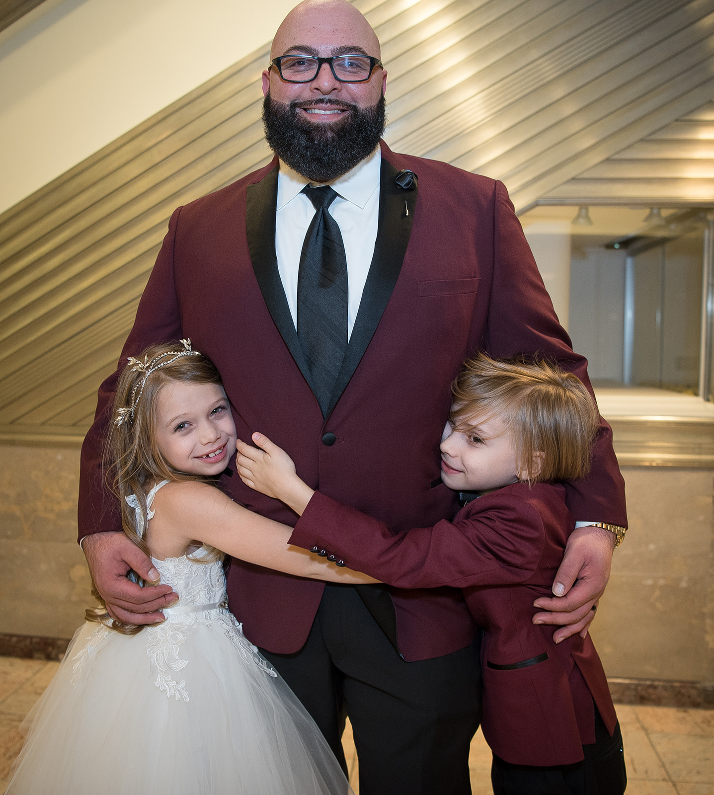 Dad and his kids on his wedding day! - Pearl Weddings & Events