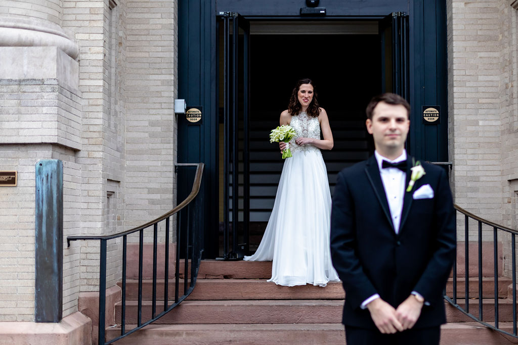 Allison and Brian's New Years Eve Wedding and first look at 19 Main in New Milford, Connecticut - Pearl Weddings & Events