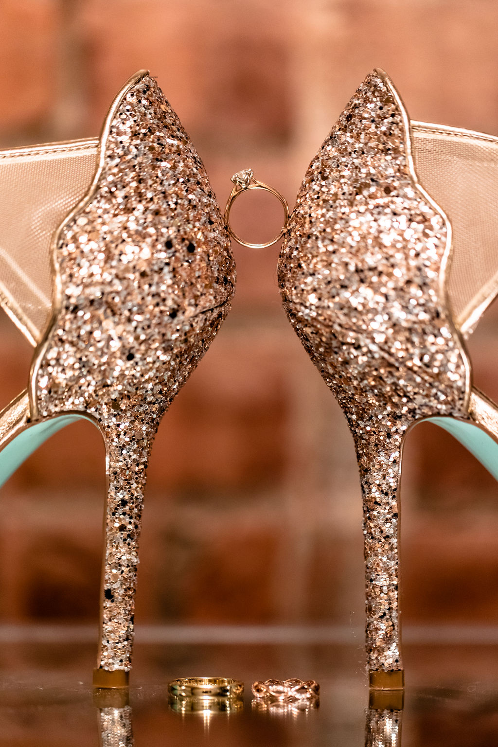 Detail shots of the wedding rings and beautiful shoes at a New Years Eve Wedding in Connecticut - Pearl Weddings & Events