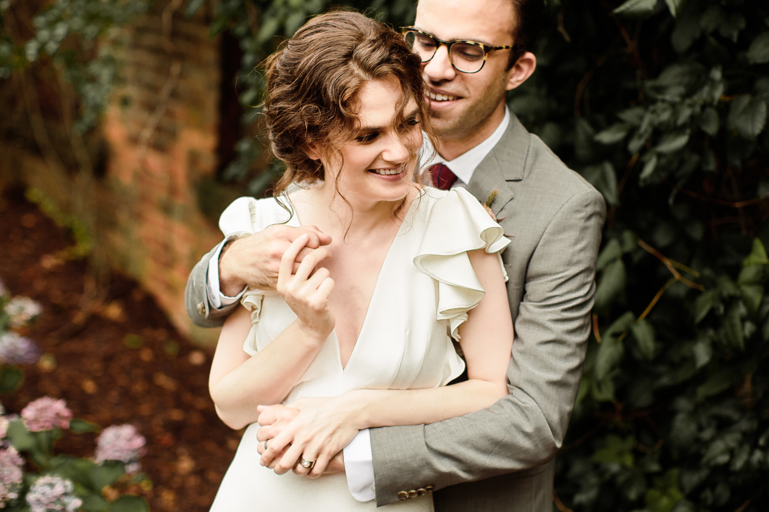 Bride in Alexander Grecco dress from Everthine Bridal in Madison, CT - Pearl Weddings & Events