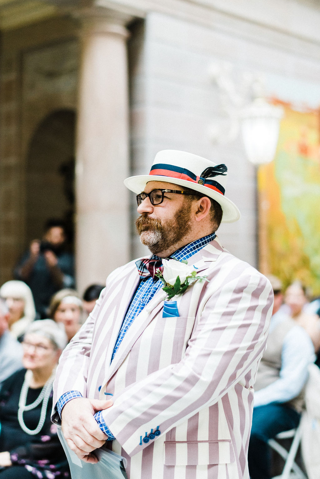 Officiant dressed up for their Great Gatsby themed wedding - Pearl Weddings & Events