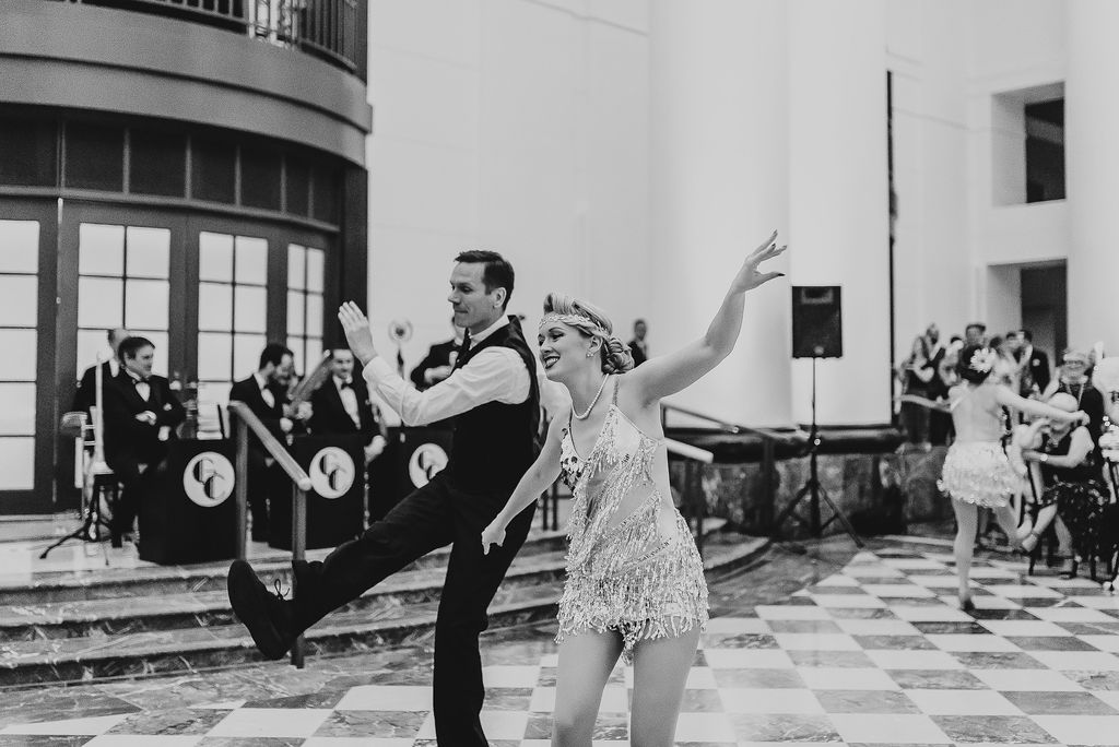New York 40's dancers performing at Tyler Anderson and Melanie Stepka's Great Gatsby themed wedding - Pearl Weddings & Events