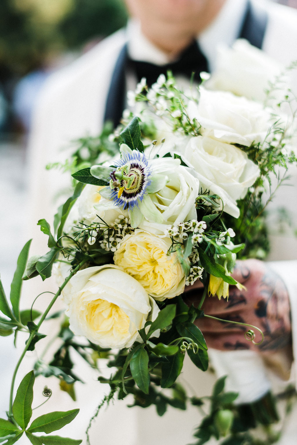 Ruth L. white bouquet with greenery - Pearl Weddings & Events