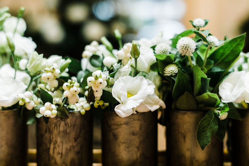 Ruth L. tiny white and green floral bud vases for the bar at The Goodwin Hotel - Pearl Weddings & Events