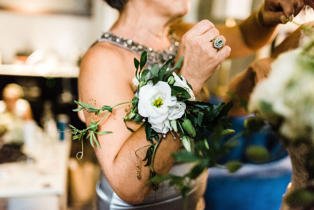 Mother of the bride's floral wristlet - Pearl Weddings & Events