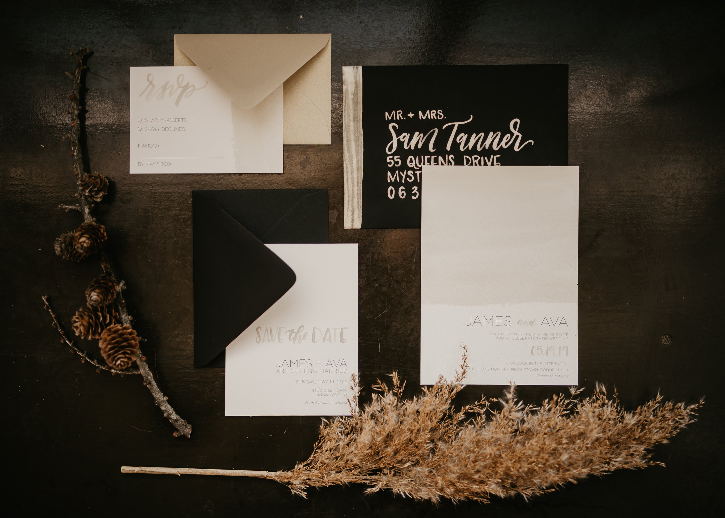 Black, white and tan Wedding Invitation Suite - Pearl Weddings & Events